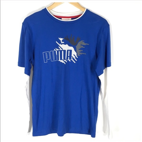 Puma Other - Puma Long Sleeve Blue White T Shirt Boy's XL NEW